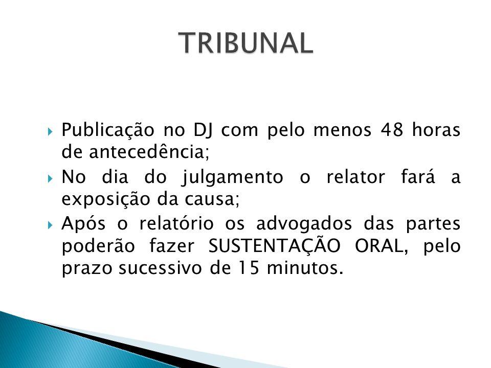 TRIBUNAL Publicação no DJ com pelo menos 48 horas de antecedência;
