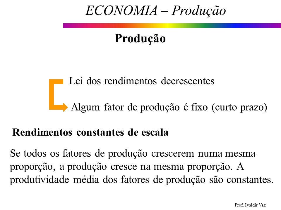 Produção Lei dos rendimentos decrescentes