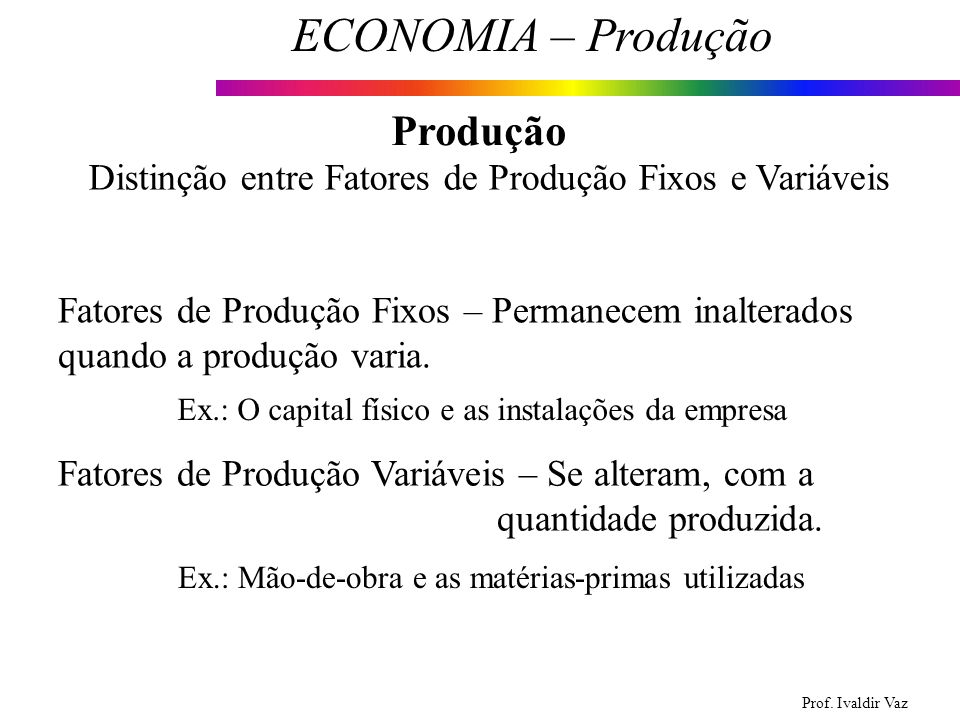 Distinção entre Fatores de Produção Fixos e Variáveis