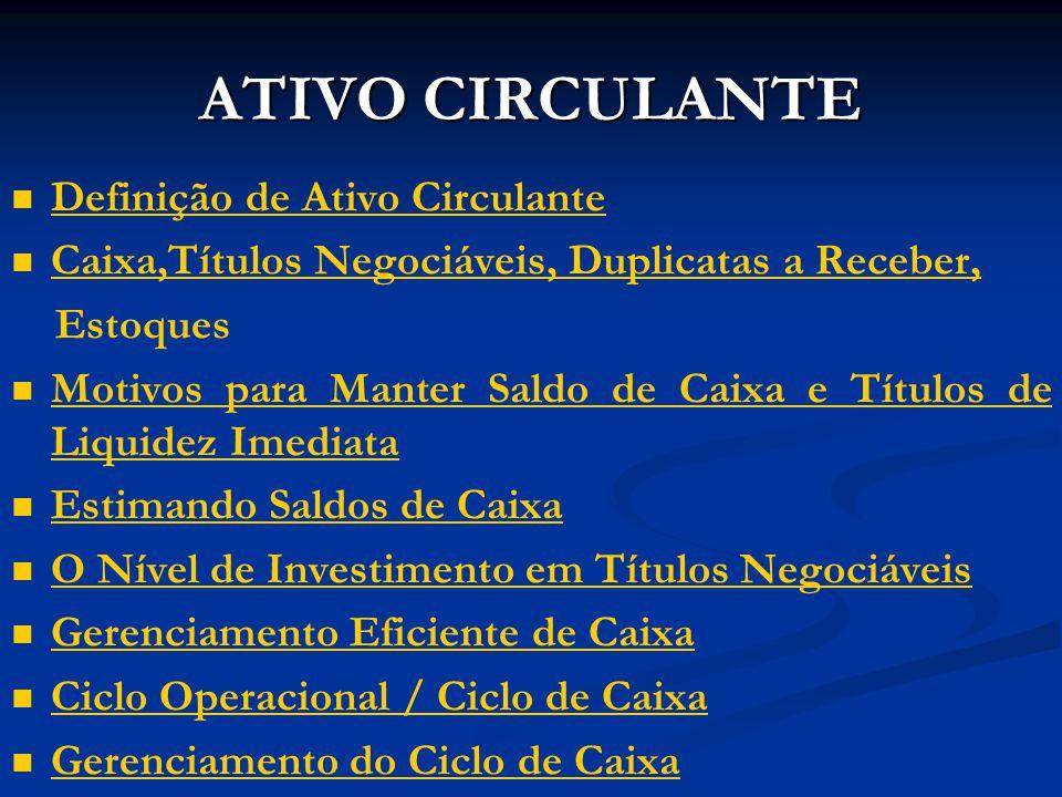ATIVO CIRCULANTE Definição de Ativo Circulante