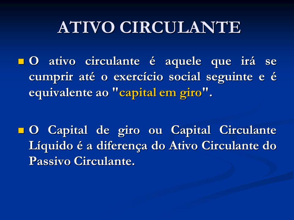 ATIVO CIRCULANTE O ativo circulante é aquele que irá se cumprir até o exercício social seguinte e é equivalente ao capital em giro .