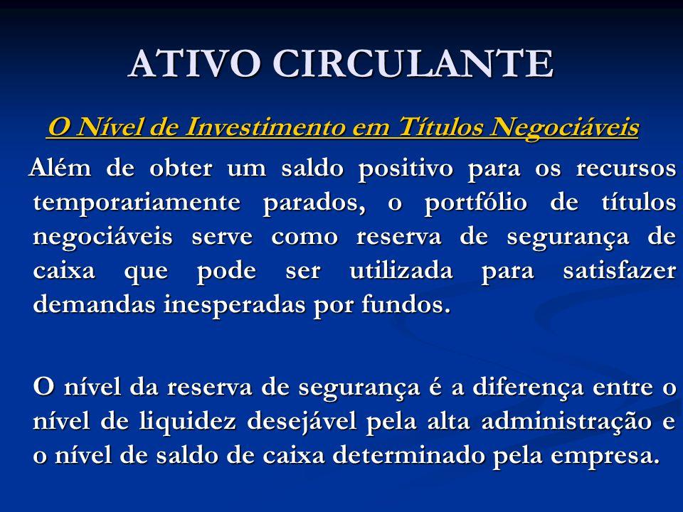 O Nível de Investimento em Títulos Negociáveis