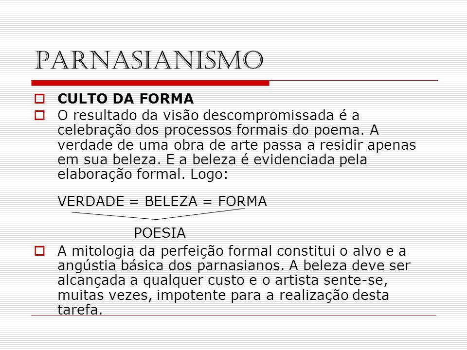 PARNASIANISMO CULTO DA FORMA
