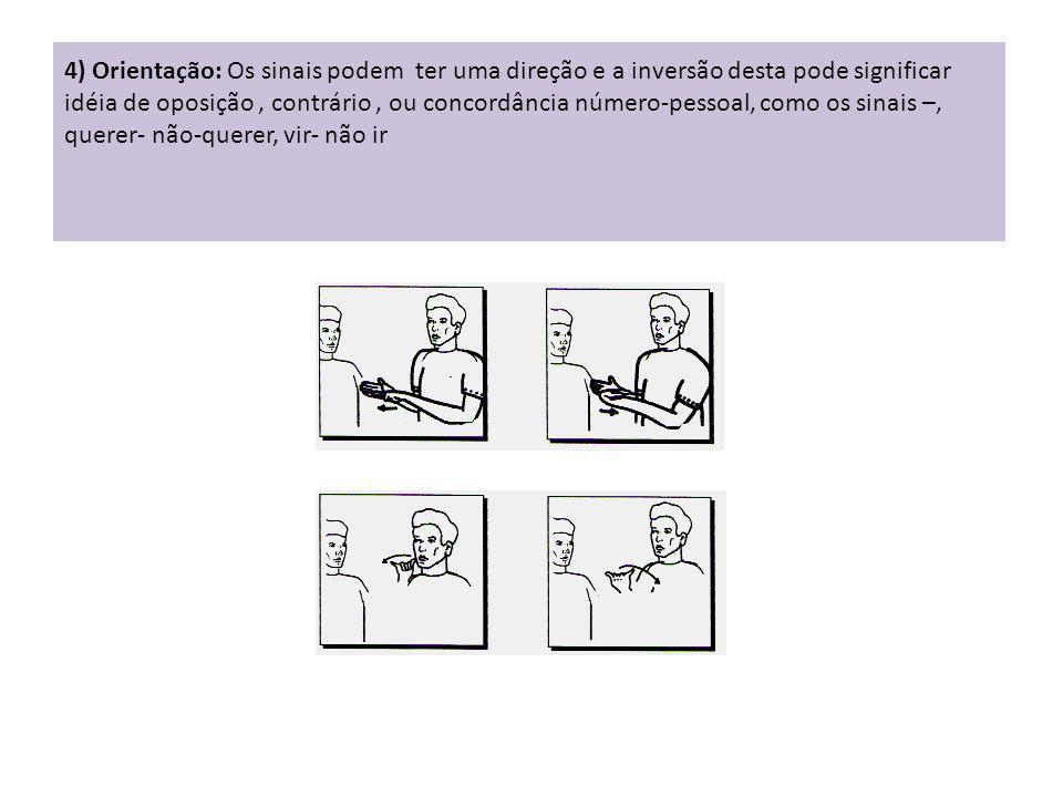 4) Orientação: Os sinais podem ter uma direção e a inversão desta pode significar idéia de oposição , contrário , ou concordância número-pessoal, como os sinais –, querer- não-querer, vir- não ir