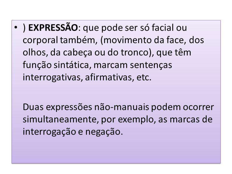 ) EXPRESSÃO: que pode ser só facial ou corporal também, (movimento da face, dos olhos, da cabeça ou do tronco), que têm função sintática, marcam sentenças interrogativas, afirmativas, etc.