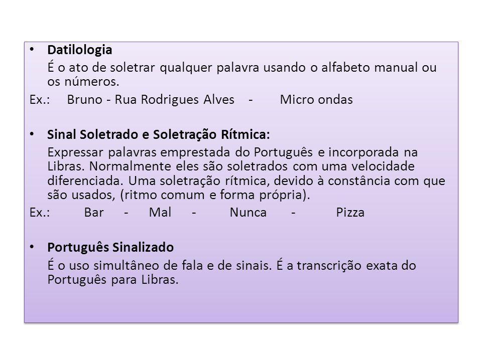 Datilologia É o ato de soletrar qualquer palavra usando o alfabeto manual ou os números.