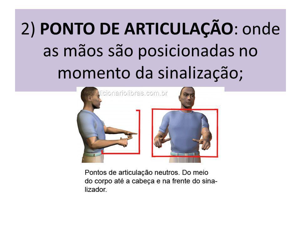 2) PONTO DE ARTICULAÇÃO: onde as mãos são posicionadas no momento da sinalização;