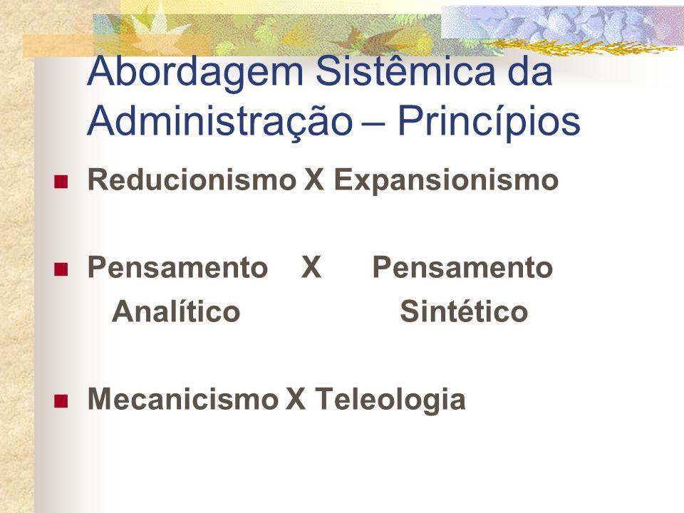 Abordagem Sistêmica da Administração – Princípios