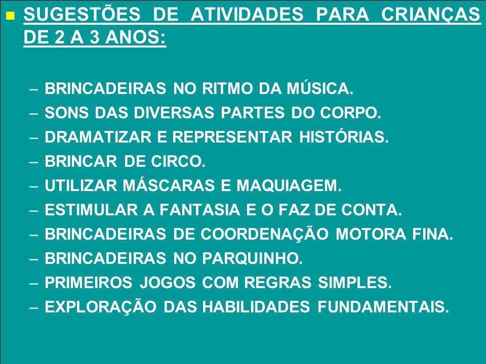 SUGESTÕES DE ATIVIDADES PARA CRIANÇAS DE 2 A 3 ANOS: