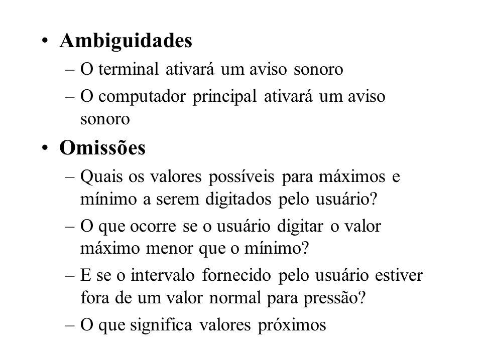 Ambiguidades Omissões O terminal ativará um aviso sonoro