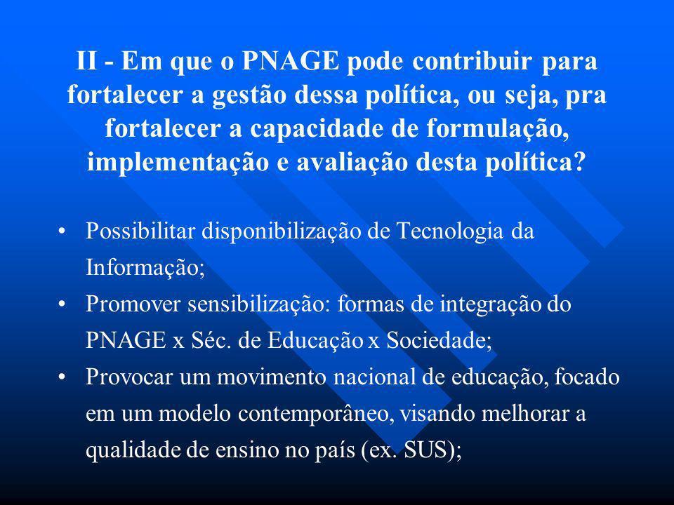 II - Em que o PNAGE pode contribuir para fortalecer a gestão dessa política, ou seja, pra fortalecer a capacidade de formulação, implementação e avaliação desta política
