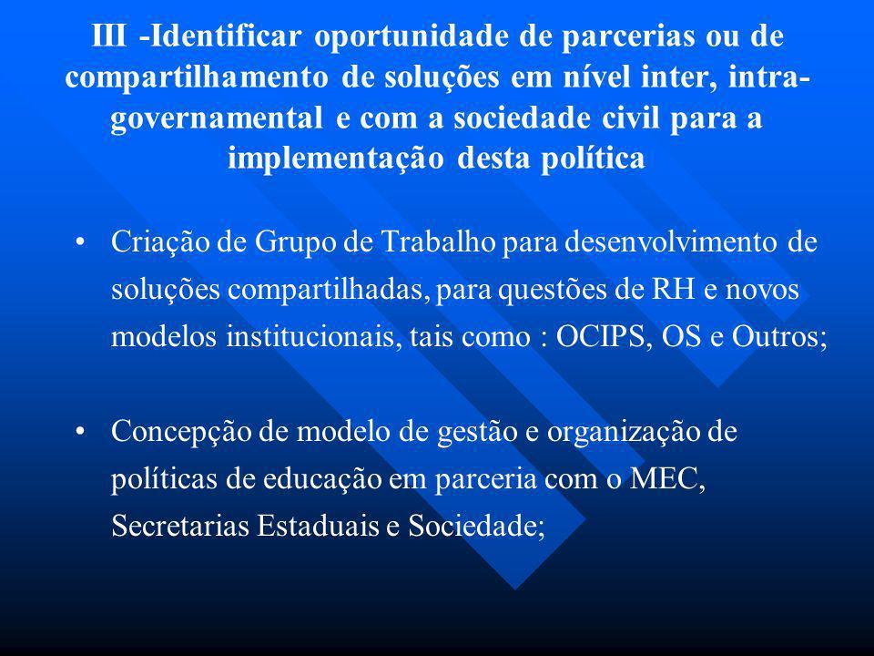 III -Identificar oportunidade de parcerias ou de compartilhamento de soluções em nível inter, intra-governamental e com a sociedade civil para a implementação desta política