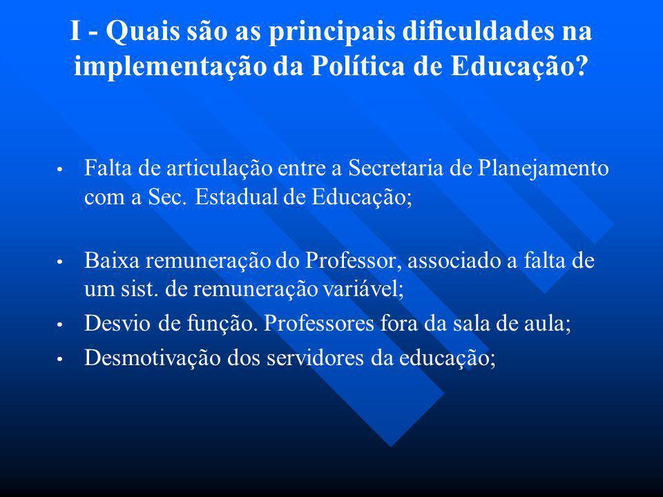 I - Quais são as principais dificuldades na implementação da Política de Educação