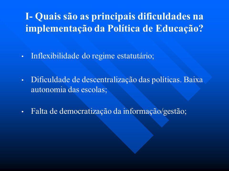 I- Quais são as principais dificuldades na implementação da Política de Educação