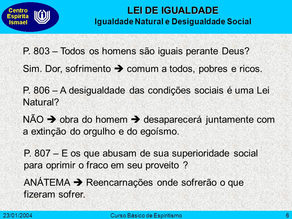 Igualdade Natural e Desigualdade Social