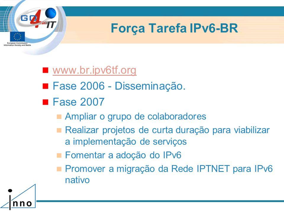 Força Tarefa IPv6-BR www.br.ipv6tf.org Fase 2006 - Disseminação.