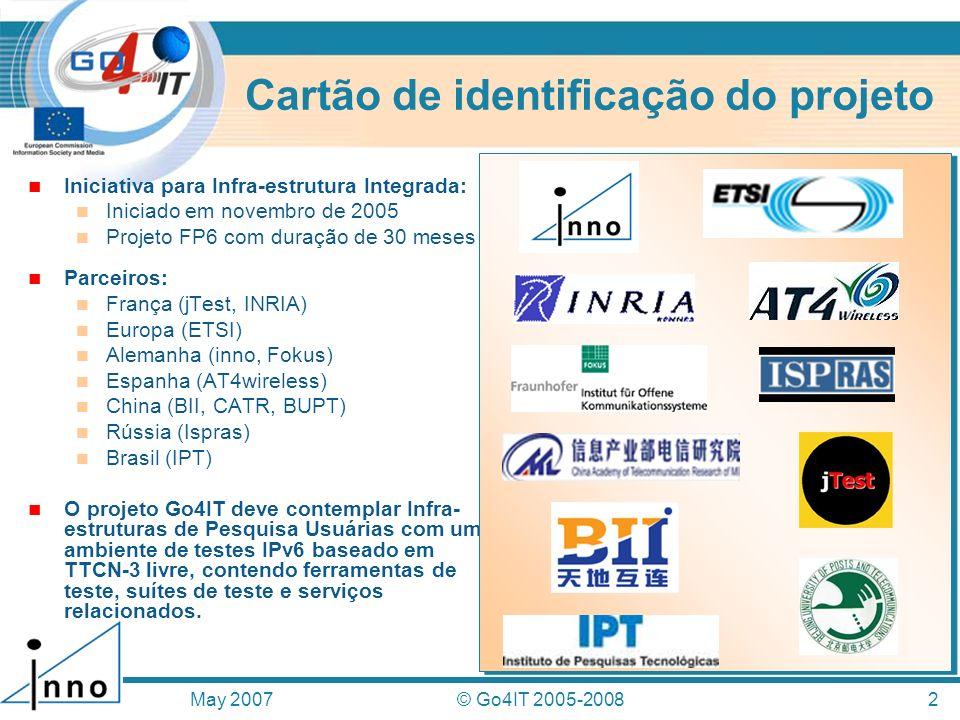 Cartão de identificação do projeto