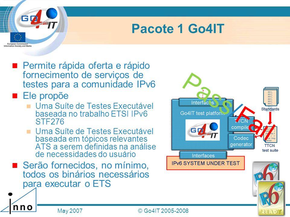 Pacote 1 Go4IT Permite rápida oferta e rápido fornecimento de serviços de testes para a comunidade IPv6.