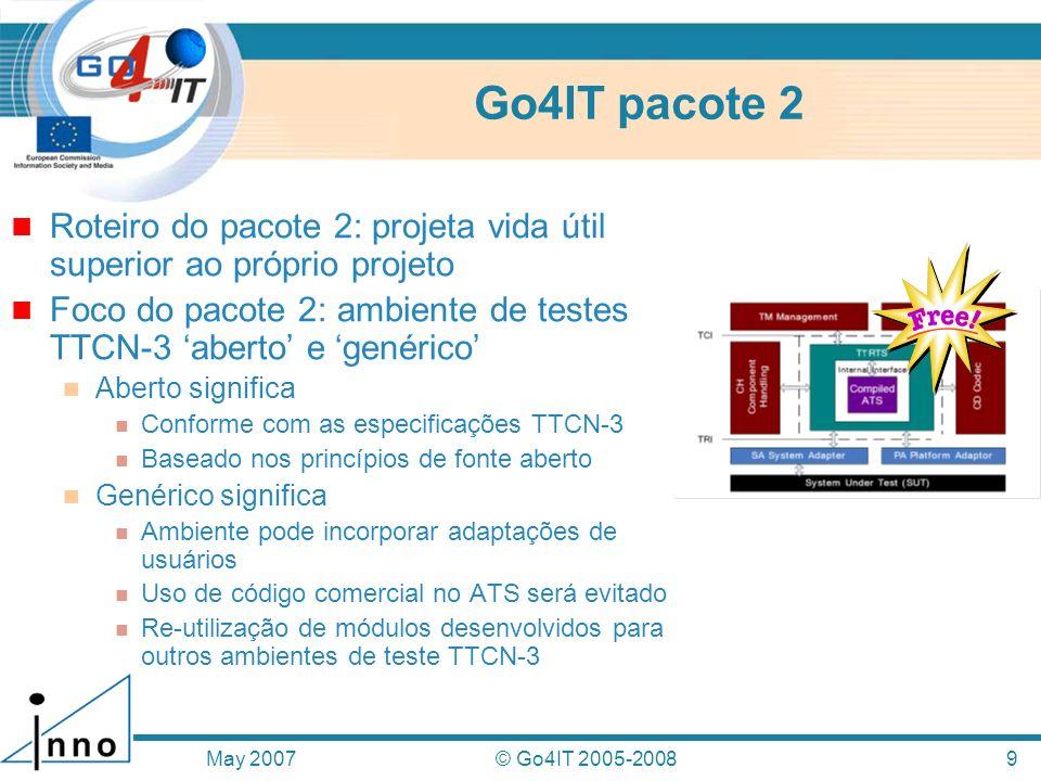 Go4IT pacote 2 Roteiro do pacote 2: projeta vida útil superior ao próprio projeto. Foco do pacote 2: ambiente de testes TTCN-3 'aberto' e 'genérico'