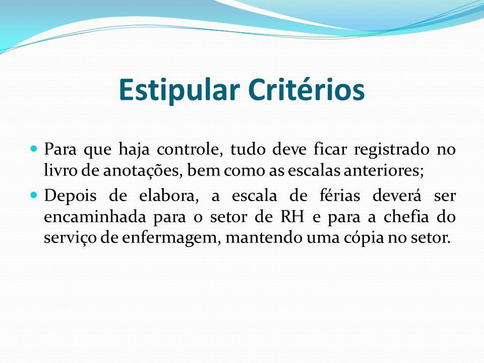 Estipular Critérios Para que haja controle, tudo deve ficar registrado no livro de anotações, bem como as escalas anteriores;