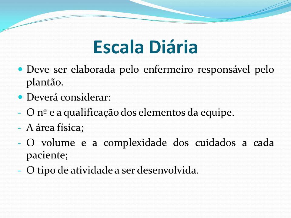 Escala Diária Deve ser elaborada pelo enfermeiro responsável pelo plantão. Deverá considerar: O nº e a qualificação dos elementos da equipe.