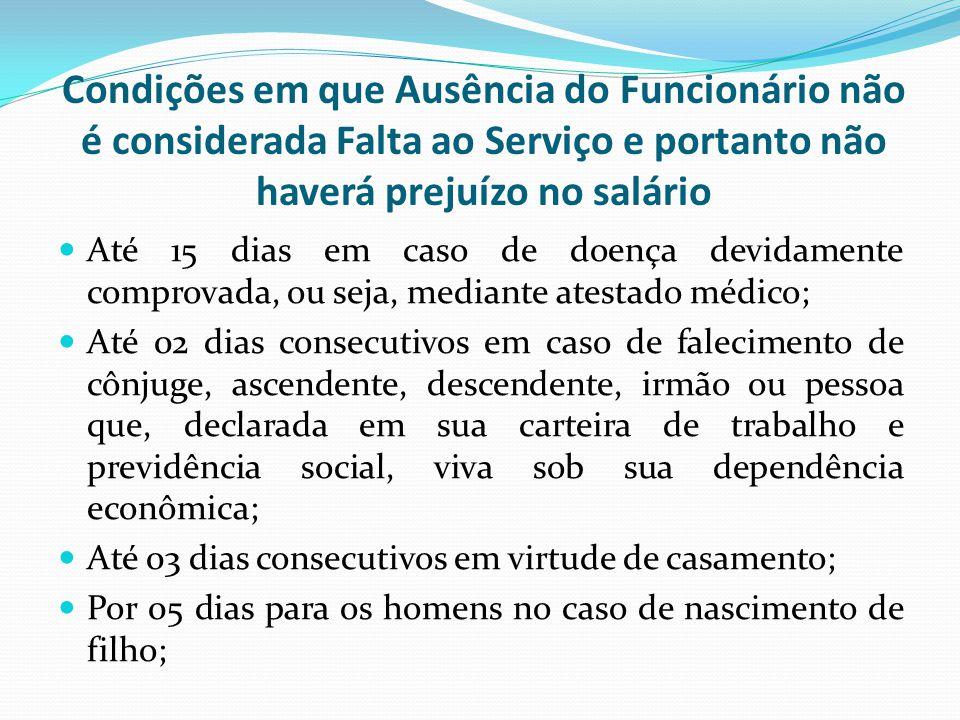 Condições em que Ausência do Funcionário não é considerada Falta ao Serviço e portanto não haverá prejuízo no salário