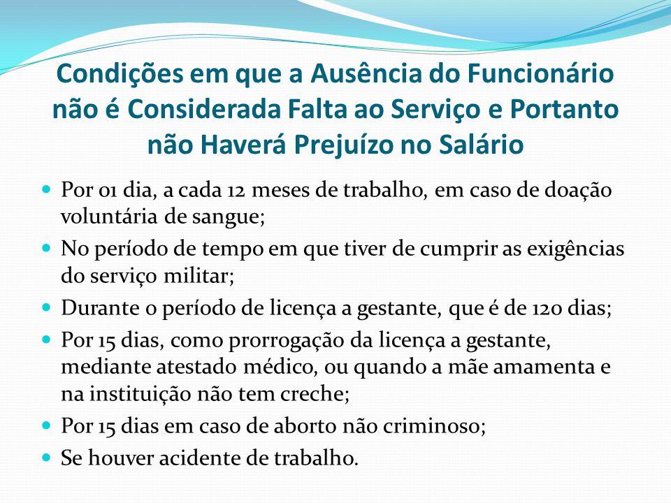 Condições em que a Ausência do Funcionário não é Considerada Falta ao Serviço e Portanto não Haverá Prejuízo no Salário