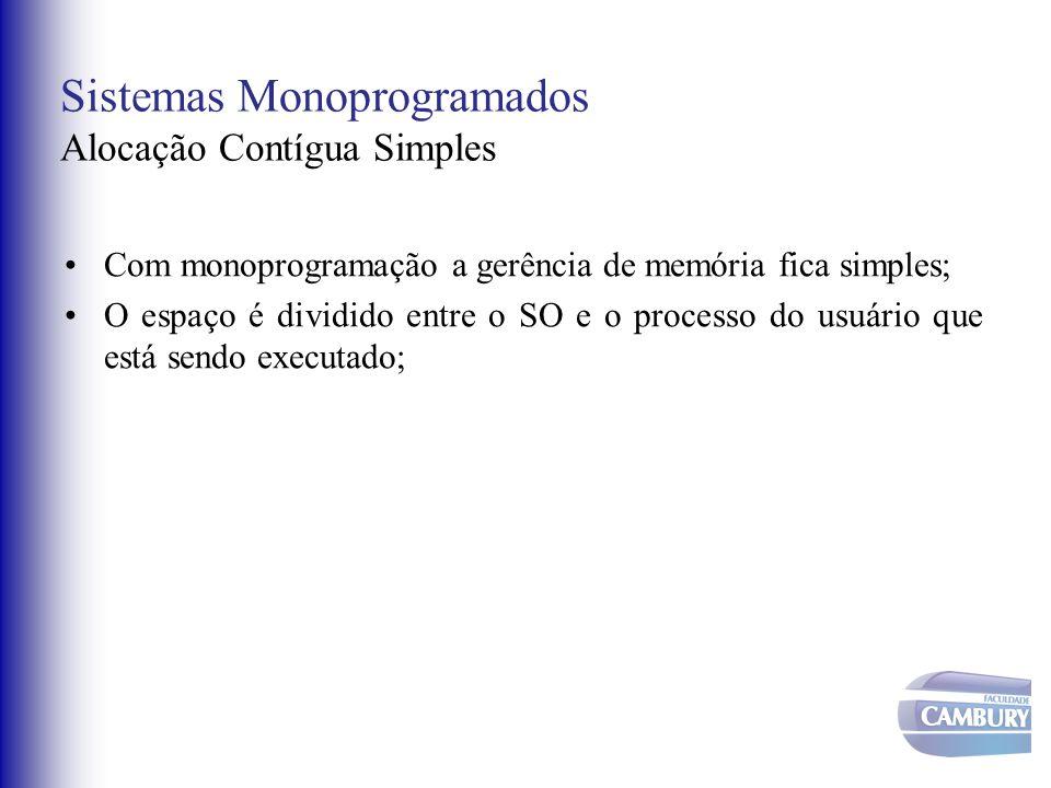 Sistemas Monoprogramados Alocação Contígua Simples