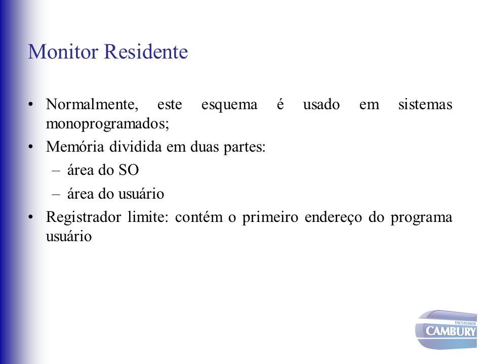 Monitor Residente Normalmente, este esquema é usado em sistemas monoprogramados; Memória dividida em duas partes: