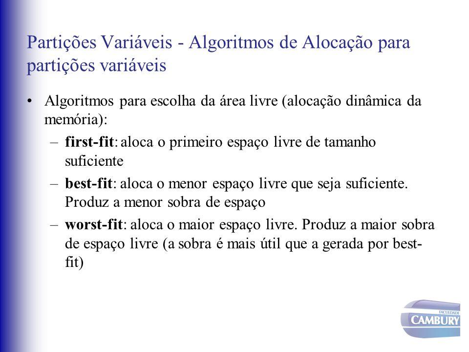 Partições Variáveis - Algoritmos de Alocação para partições variáveis