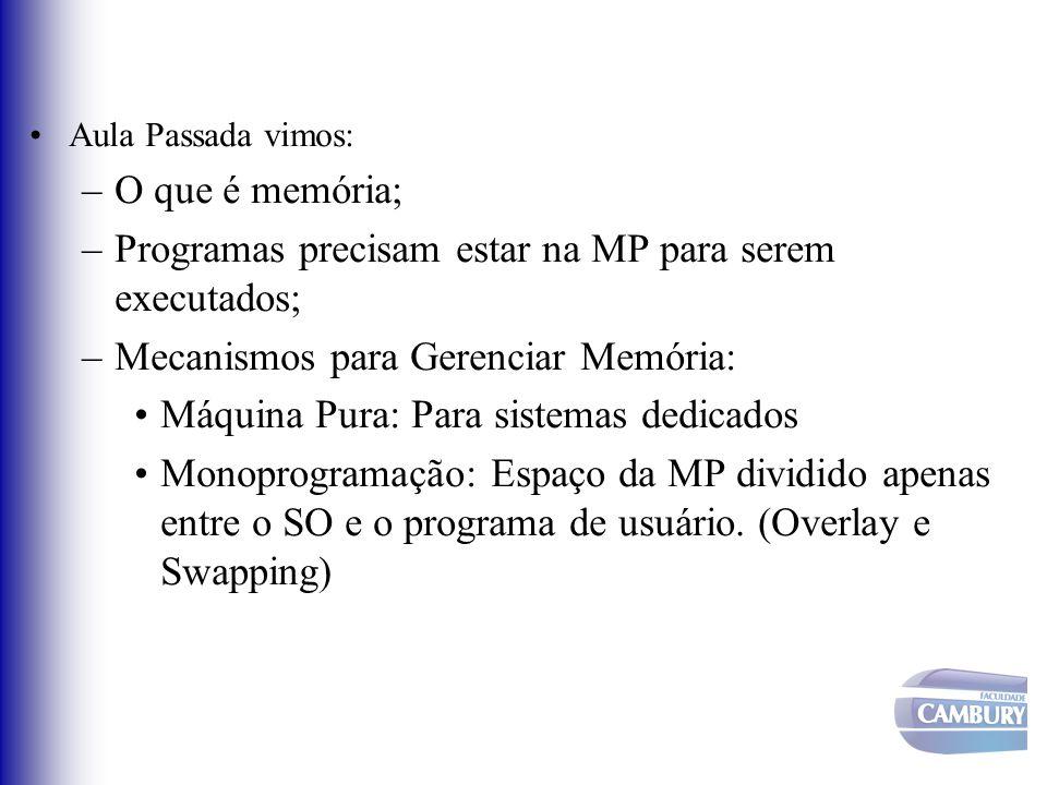 Programas precisam estar na MP para serem executados;