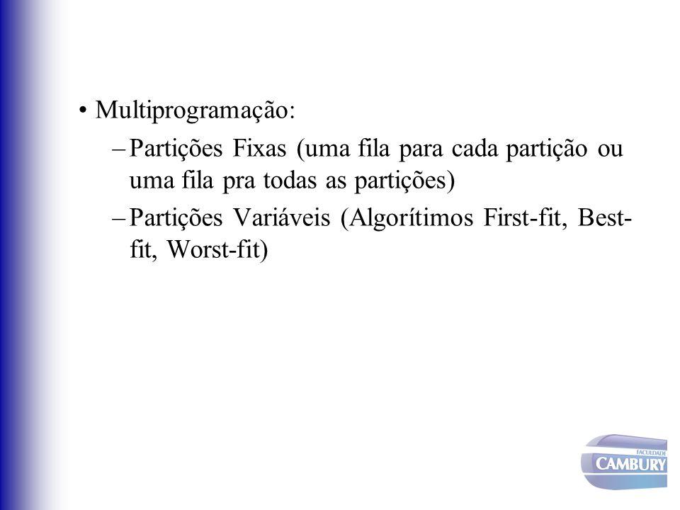 Multiprogramação: Partições Fixas (uma fila para cada partição ou uma fila pra todas as partições)