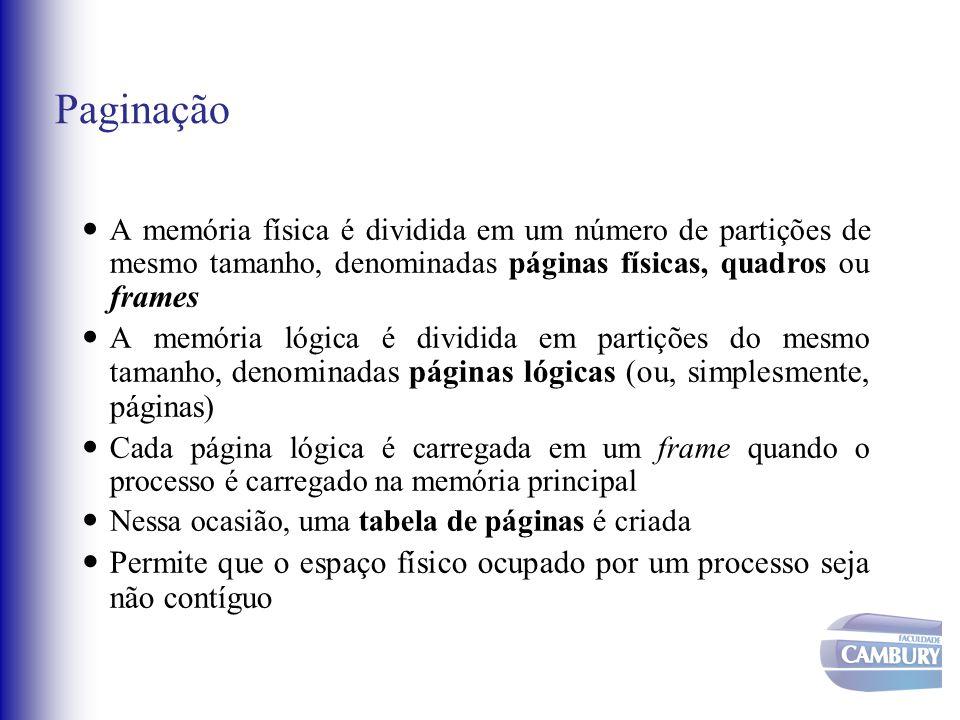 Paginação A memória física é dividida em um número de partições de mesmo tamanho, denominadas páginas físicas, quadros ou frames.