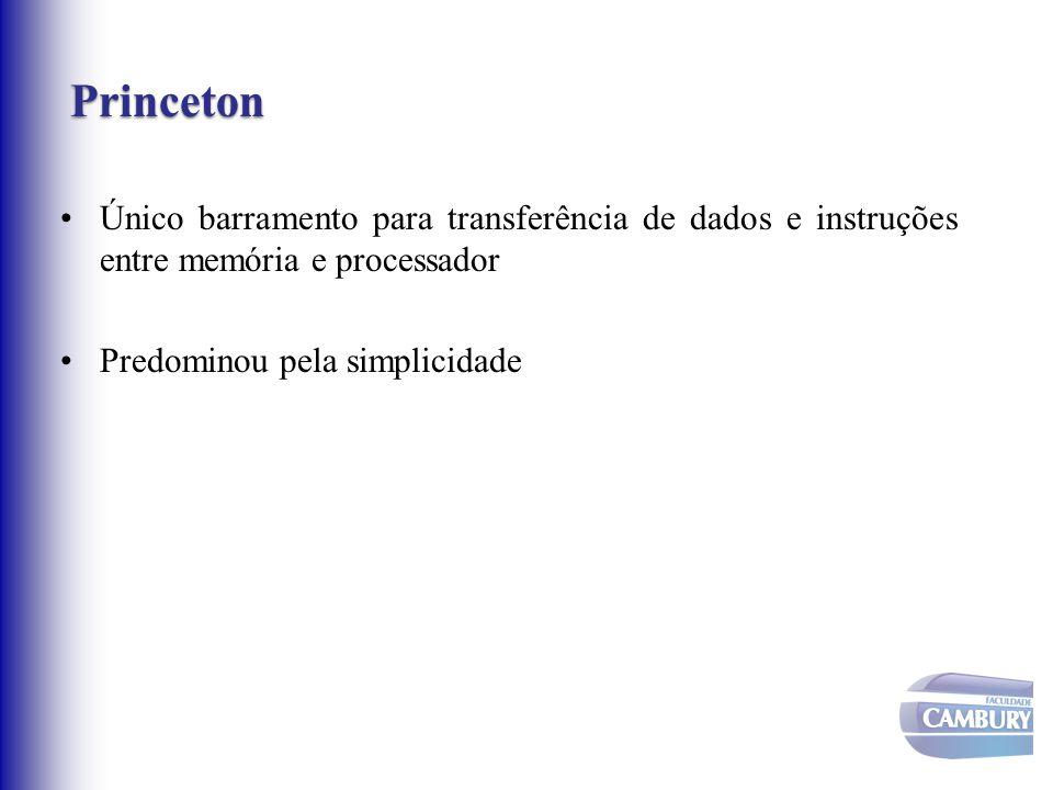 Princeton Único barramento para transferência de dados e instruções entre memória e processador.