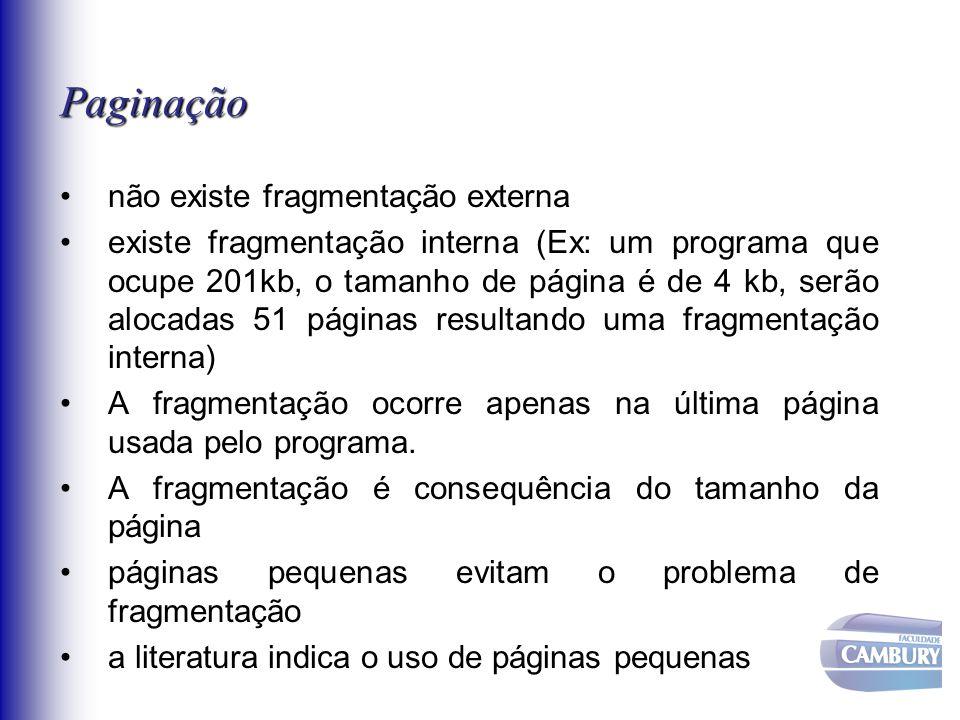 Paginação não existe fragmentação externa
