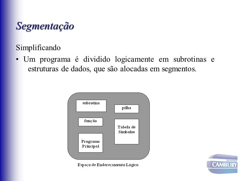 Segmentação Simplificando • Um programa é dividido logicamente em subrotinas e estruturas de dados, que são alocadas em segmentos.