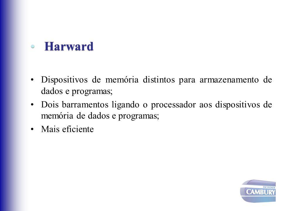 Harward Dispositivos de memória distintos para armazenamento de dados e programas;