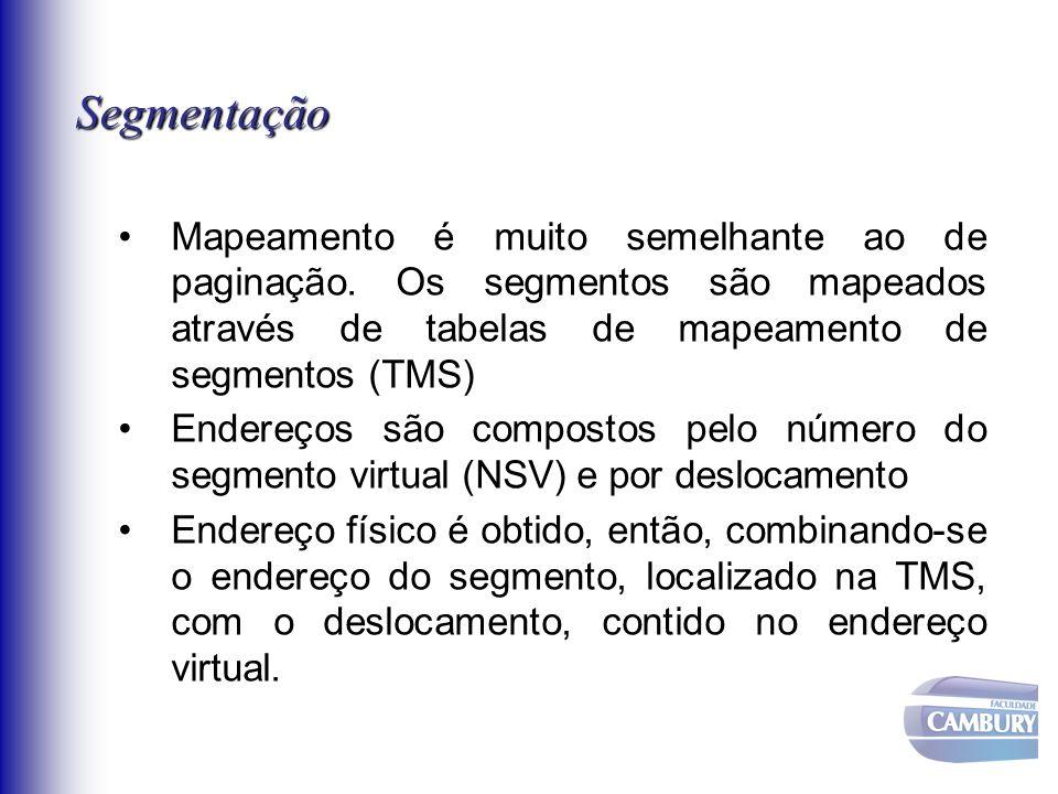 Segmentação Mapeamento é muito semelhante ao de paginação. Os segmentos são mapeados através de tabelas de mapeamento de segmentos (TMS)
