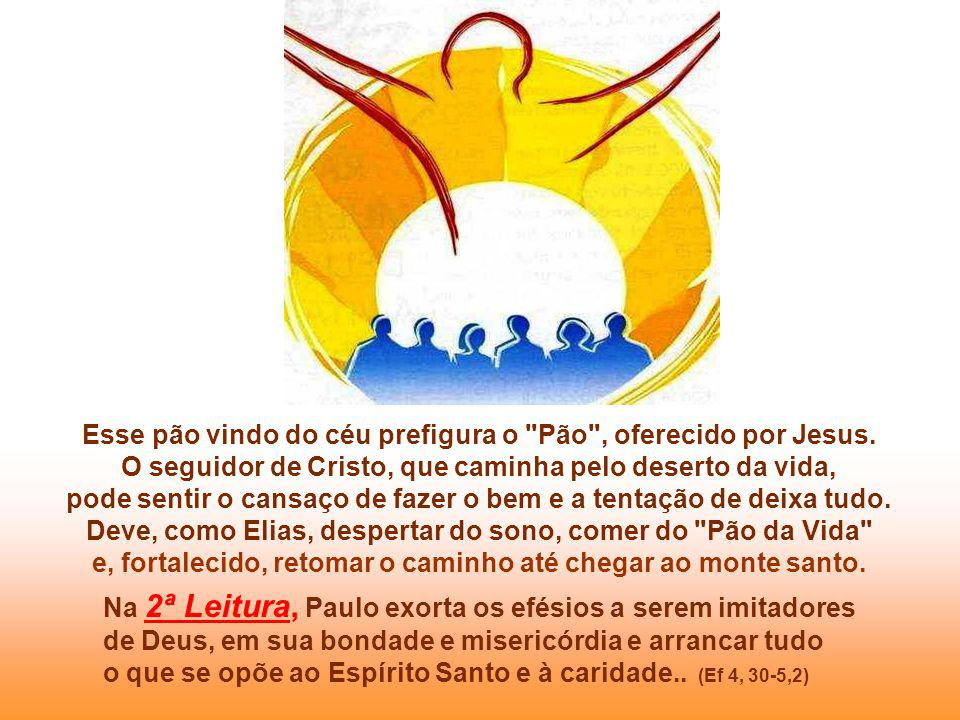 Esse pão vindo do céu prefigura o Pão , oferecido por Jesus.