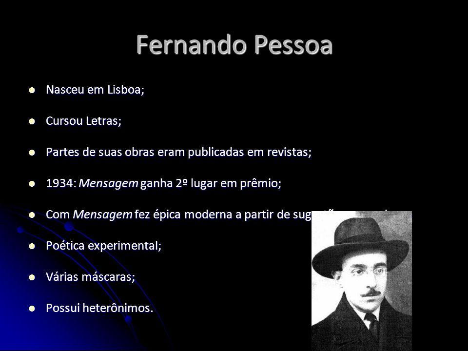 Fernando Pessoa Nasceu em Lisboa; Cursou Letras;