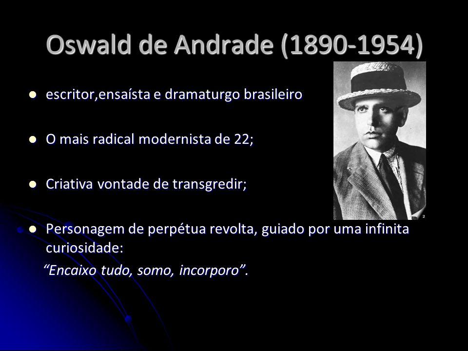 Oswald de Andrade (1890-1954) escritor,ensaísta e dramaturgo brasileiro. O mais radical modernista de 22;
