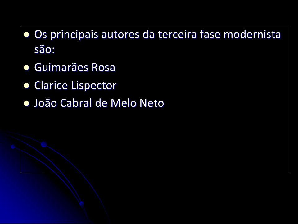 Os principais autores da terceira fase modernista são: