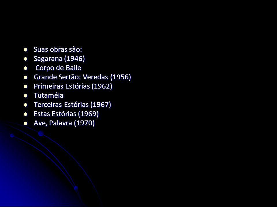 Suas obras são: Sagarana (1946) Corpo de Baile. Grande Sertão: Veredas (1956) Primeiras Estórias (1962)