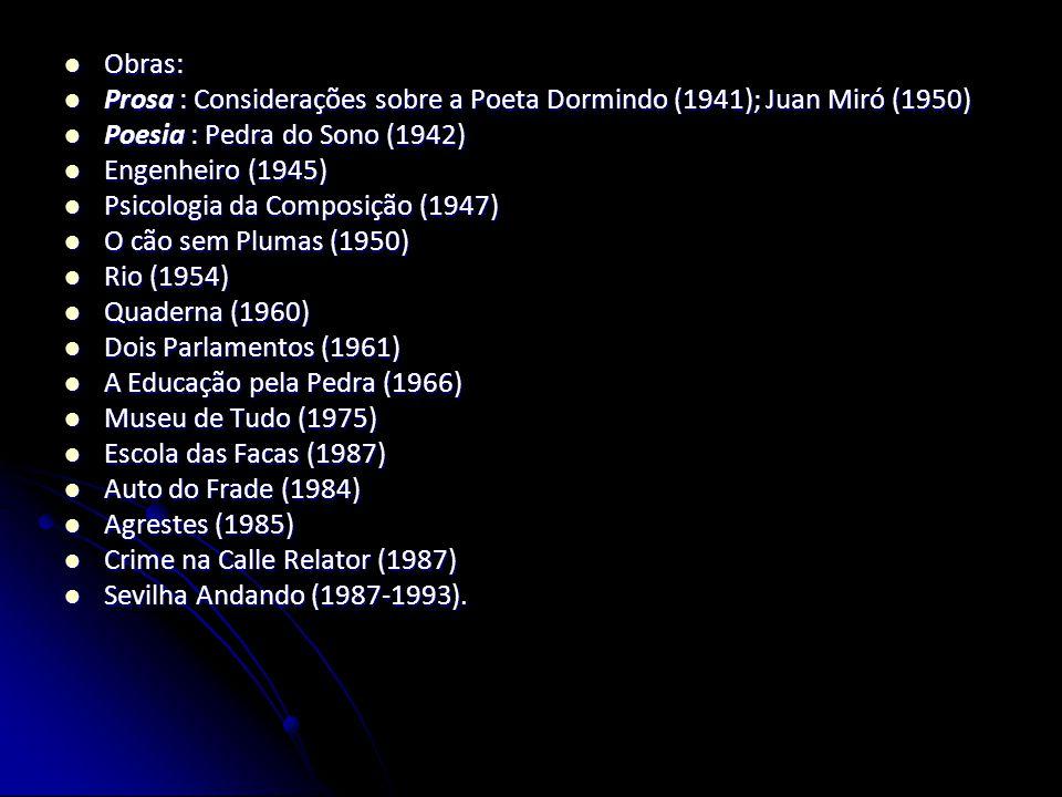 Obras: Prosa : Considerações sobre a Poeta Dormindo (1941); Juan Miró (1950) Poesia : Pedra do Sono (1942)