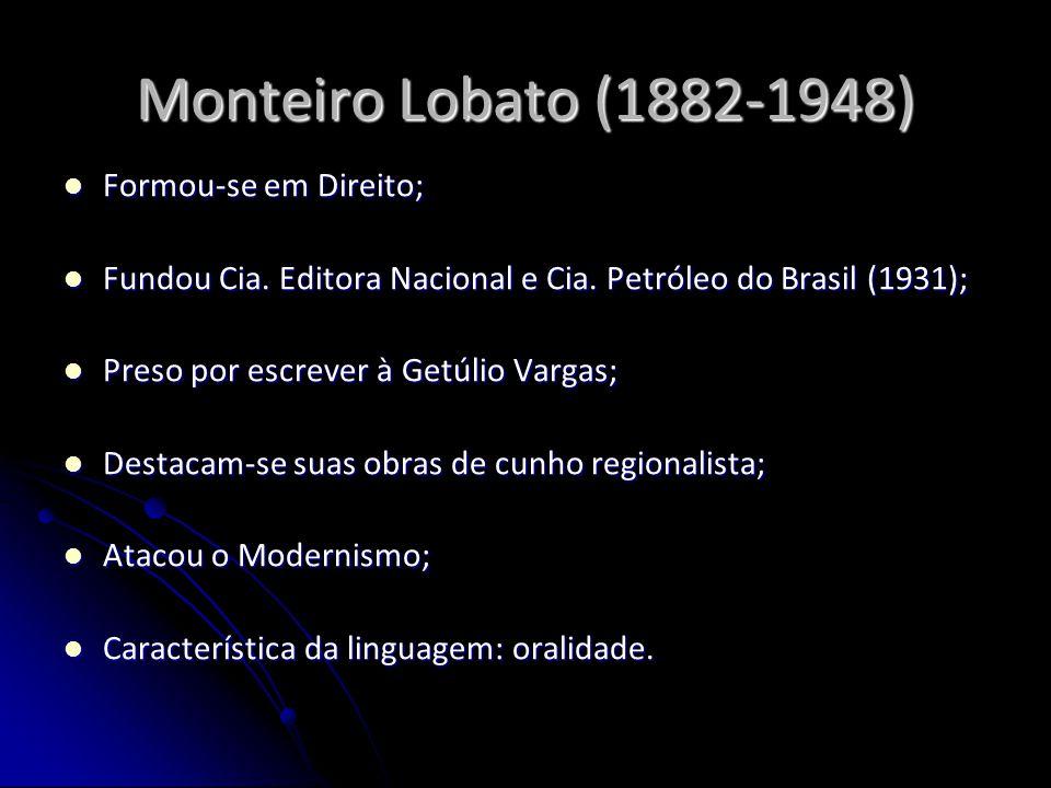 Monteiro Lobato (1882-1948) Formou-se em Direito;
