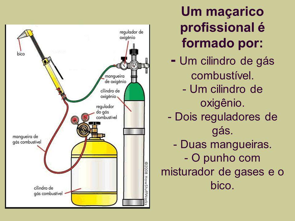 Um maçarico profissional é formado por: - Um cilindro de gás combustível.