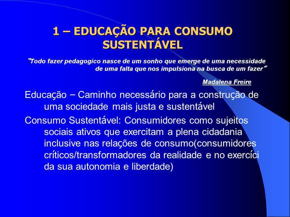 1 – EDUCAÇÃO PARA CONSUMO SUSTENTÁVEL