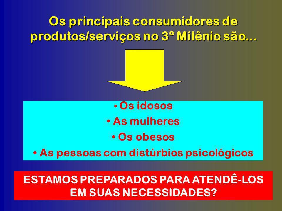 Os principais consumidores de produtos/serviços no 3º Milênio são...