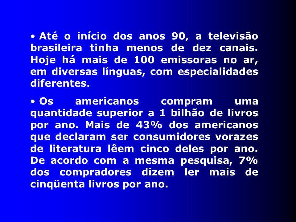 Até o início dos anos 90, a televisão brasileira tinha menos de dez canais. Hoje há mais de 100 emissoras no ar, em diversas línguas, com especialidades diferentes.