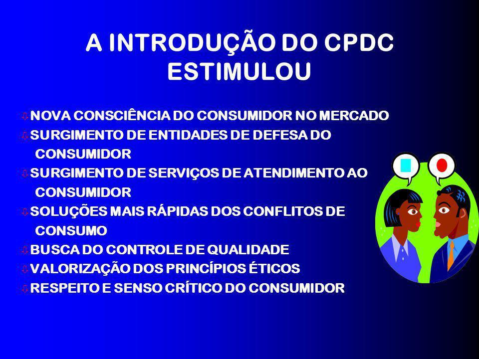 A INTRODUÇÃO DO CPDC ESTIMULOU